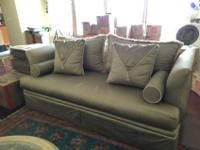 Silk sofa with cushions and pillows, $500.00 or best
