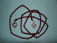 "SILPADA brand 41"" lariat necklace with garnets, glass"
