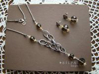 Silpada .925 engraved sterling silver, smoky quartz and