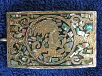 Aztec motive silver and abalone belt buckle 3 1/2 x 2""