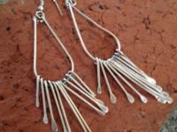 2 pairs dangly silver earrings and 1 set of giant