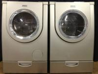 Silver/Gray Bosch Frontload Washer Dryer Set on