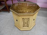 "Gold Octagon End Table The dimensions are: 26"" Long and"
