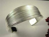 LOVELY Silver Plated 'Lines' Bracelet Bangle/Cuff All