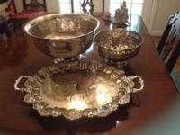 Large silver plated punch bowl $80 small silver plated
