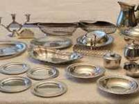 Silver plated serving pieces. Call  1. Bread Plates (4)