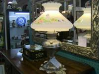 Lovely metal lamp with frosted glass floral pattern
