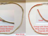 There are 8 silver thread wrap necklace chokers, each