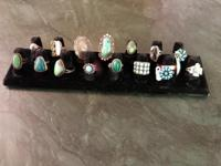 Silver, Turquoise and Malachite Rings Great gifts!