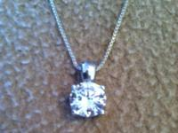 beautiful box link necklace with cz stone Text me  This