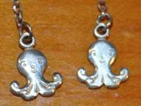 925 SILVER DANGLE OCTOPUS EARRINGS hooks CUTE! NEVER