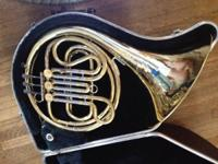 This is a secondhand single french horn by FE Olds