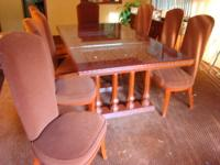 Beautiful dark oak wood dining room set with four