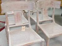 Unique distressed finish on chairs with walking stick