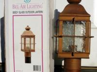 Six outdoor lighting fixtures. Antique copper finish