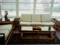 Six piece porch set which includes a sofa, love seat,