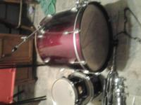 Burgundy 6 piece drum set an stool as is because Its