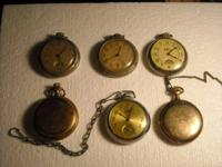 I have a total of six pocket watches  for repair or for