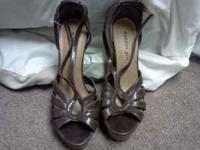 Brown Madden girl open toe heels size 8, gently used