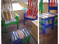 Strong and beautiful ski chairs made from vintage,
