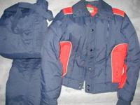 Ski Suit 2 - Piece, Men's Small. Dark Blue & Red.