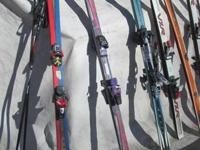 NICE VARIETY OF USED SKIS  MANY STYLES AND BRANDS TO