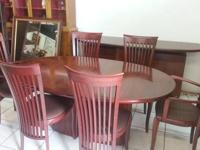 Skovby Cherry Wood Oval Extending Dining Table with 4