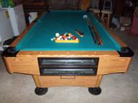 3/4 inch slate Pool Table. Comes with multiple pool