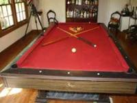 Great slate pool table with new felt and bumpers. The