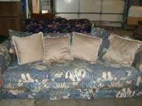 Cushions show some wear....but, very comfortable, clean
