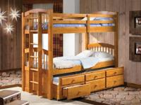 WI #60004 SLEEPS 3!!!!~ Honey Pine Twin/Twin BunkBeds
