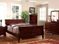All hardwood, 7 pieces includes cherry finish queen