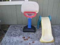 Slide and basketball hoop for sale. Both for $35! call