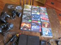 Slim PS2 with all cords. Sony memory card. 3