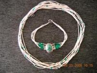 Jewel Necklace & W. Band S.Malachite Made by Native