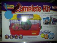 Many small animal and bird kits and supplies for sale.