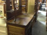 Small Antique Buffet with Beveled Mirror Good