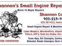Small Engine Service and Repair... ATV'S---- Reasonable