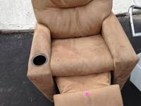 Small wooden white chair $5. Microfiber recliner for