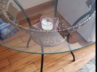 Small glass top kitchen table, glass is removable. Four