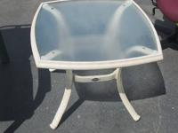 SMALL PATIO TABLE (FROSTED GLASS) - $10  WE HAVE