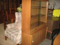 3 solid wood shelves with glass doors. 2 silverware