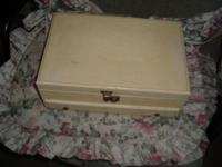 Small vintage jewelry box, has key to lock. Measures 12