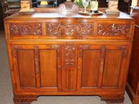 Oak art deco style small sideboard with floral