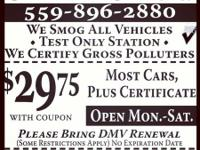 -WE ARE OFFERING OUR SPECIAL ON SMOG CHECKS FOR $29.75