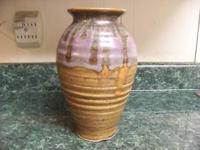 HANDMADE SMOKY MOUNTAIN POTTERY VASE, PURPLE COLOR,