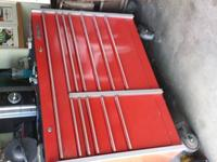 "This is a barely used red ""Snap-On"" tool box. It stands"