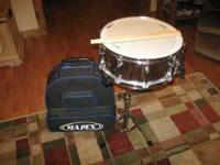 Brand new Mapex snare drum with stand and case on