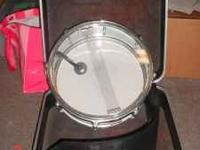 SNARE DRUM AND HARD SHELL CASE DRUM HAS A SMALL CRACK