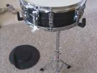 Ludwig snare drum, drumsticks, stand and case. All in